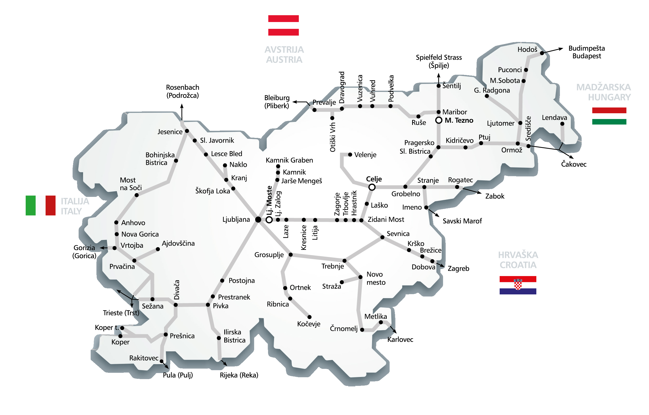 Slovenian rail network map